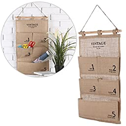 Wall Mounted Vintage Style French Design Beige Canvas 5 Pocket Organizer / Office Supplies Storage Bag