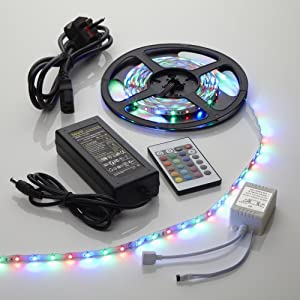 Biard 5m Meter 300 LED RGB Colour Changing Strip Lights Kit 3528 - Non Waterproof - With Power Supply & Remote