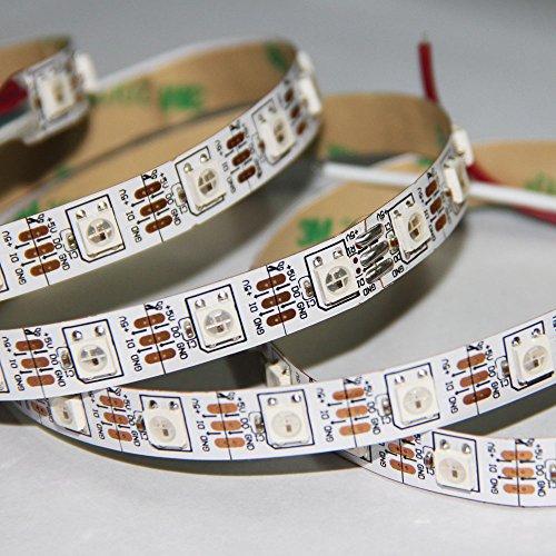 Wit-Lighting 3.2Ft Ws2812B White Pcb 5050 Rgb Led Strip Light 60Led/M Ws2811 Individual Addressable