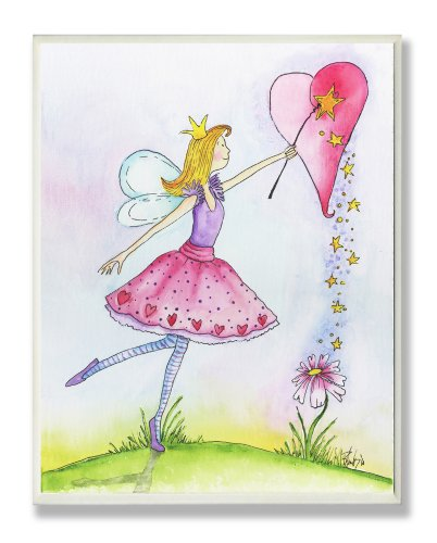 The Kids Room by Stupell Ballerina Fairy with Heart Rectangle Wall Plaque