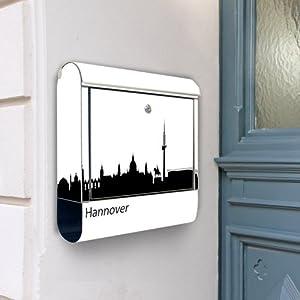 Design Briefkasten Edelstahl Briefkästen 38x42x11 von banjado mit Motiv Hannover