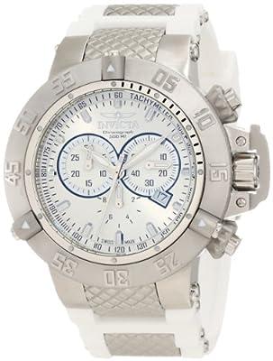 Invicta Men's 1384 Subaqua Noma III Chronograph Silver Dial White Polyurethane Watch