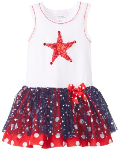 Bonnie Baby Baby-Girls Infant Star Appliqued Tutu Dress, White, 12 Months front-1016756