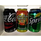 3 Pack Soda Diversion Stash Can Safe (Coke Zero,Cactus Cooler and Sprite)