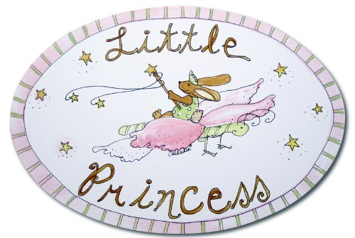 The Kids Room by Stupell Little Princess Bunny on a Butterfly Oval Wall Plaque