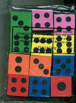~ 12 ~ Foam Dice ~ 1.5 Inch ~ Games Math Teaching ~ NEW - 1