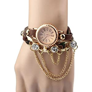 Aokdis HOT Selling 1pc Vintage Leather Bracelet Woman Rivet Bracelet Quartz Wrist Watch (coffee)