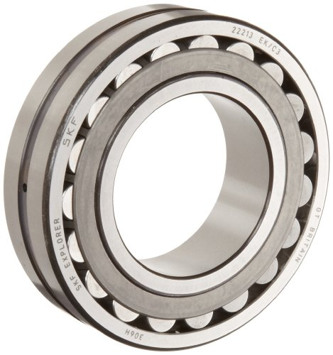 SKF 22211 EK/C3 Explorer Spherical Roller Bearing, Tapered Bore, Standard Tolerance, Steel Cage, C3 Clearance, Metric, 55mm Bore, 100mm OD, 25mm Width, 8500rpm Maximum Rotational Speed, 30800lbf Static Load Capacity, 30100lbf Dynamic Load Capacity