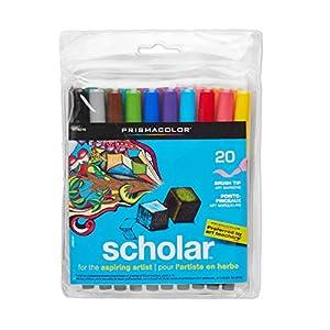 Prismacolor Scholar Water-Based Art Markers, Brush Tip, Set of 20 Assorted Colors  (1774270)