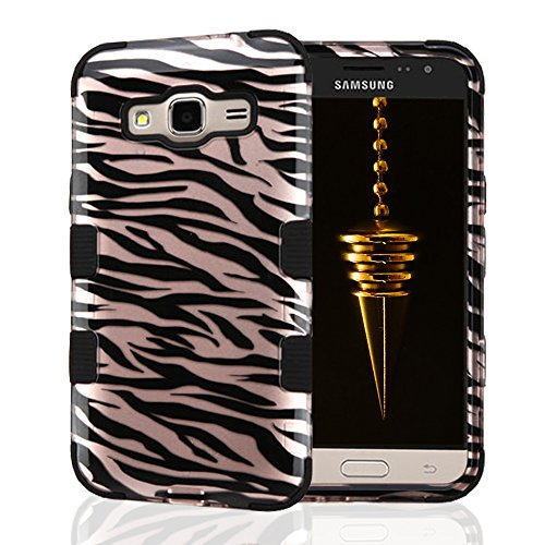 Samsung Galaxy J3 Case, JoJoGoldStar TUFF Hybrid, Slim Fit Heavy Duty Plastic and Silicone TPU Cover with Stylus and Screen Protector (Rose Gold Zebra Stripes) (Cute Animal Pics compare prices)
