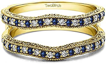 Silver Vintage Ring Guard with Millgrain and Filigree with Diamonds and Sapphire 074 ct twt
