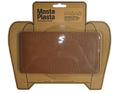 Mastaplasta Peel And Stick First-Aid Leather Repair Band-Aid For Furniture, Large Plain, 8-Inch By 4-Inch, Tan front-613252
