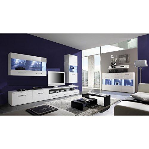 Wohnwand Und Sideboard Set DUALOSA258 Weiß Hochglanz