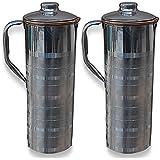 Rime India™ Luxury Stainless Steel Fridge Water Bottle / Pitcher Jug 1200 ML Set Of -2