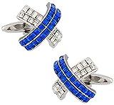 Cuff-Daddy Silver Blue Crystal Cross Cufflinks