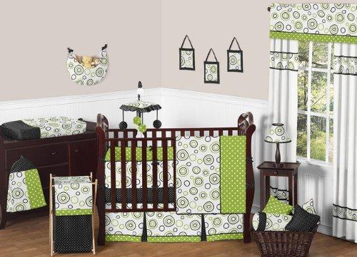 Sweet Jojo Designs Spirodot Lime and Black Gender Neutral Baby Bedding 9 pc Boy or Girl Crib Set
