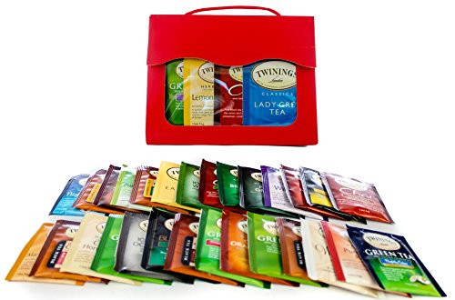 Twinings Tea Bags Sampler Gift Assortment, Includes Mints by Tea Time Sampler, Red Tote (Coffee And Tea Gift Basket compare prices)
