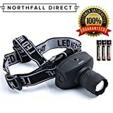 LED Headlamp by Northfall Direct - Ultra-Bright Flashlight for Camping, Hiking, Running, Safety and Work. Comfortable & Lightweight - Batteries Included - Lifetime Warranty