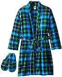 Too Cool 2 Sleep Boys Plush Plaid Bathrobe and Slipper Gift Set