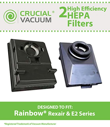 2 Rainbow Rexair E2 Series Washable & Reusable Exhaust HEPA Filter; Compare to Part# R12179 and R12647B; Designed & Engineered by Crucial Vacuum (Rainbow E2 Black Hepa Filter compare prices)