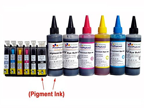 With Auto Reset Chips! Printpayless® Brand Pre-Filled 6 Refillable Ink Cartridges For Canon Pgi-225 Cli-226 (Non-Oem) Cartridges + Additional 500 Ml Printpayless® Brand Uv Resistant Dye Ink And 100 Ml Of Black Pigment Ink Specially Formulated For Canon (T