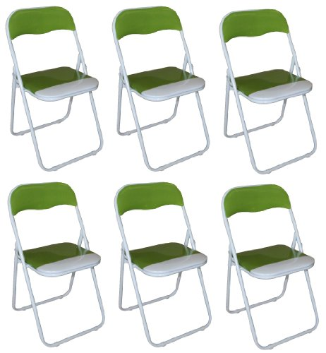 Pack of 6 x Green and White Padded Folding Chair - Great for, Office, Desk, Poker, Spare / Extra Seating
