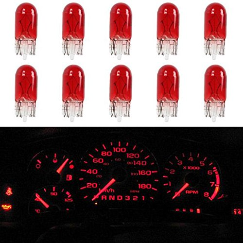 Partsam T10 194 Instrument Panel Halogen Bulbs Dashboard Gauge Cluster Indicator Light, Red, Pack of 10 (Chevrolet Malibu 1982 Parts compare prices)