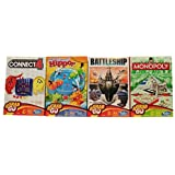 Hasbro board games Battleship, Connect 4, Monopoly, Hungry Hungry Hippos Grab-n-Go versions for travel, camping, rainy days or family game night variety economy bundle of 4 games total
