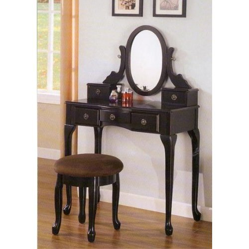 Black finish vanity with stool and drawers ufudkhgdgj - Black and white vanity stool ...