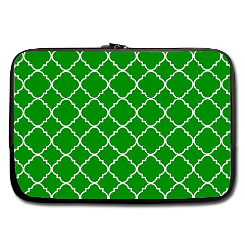 Cool Quatrefoil Simple Green And White Classic Reticular Custom Sleeve For Macbook Pro 13'' (Twin Sides) front-893733