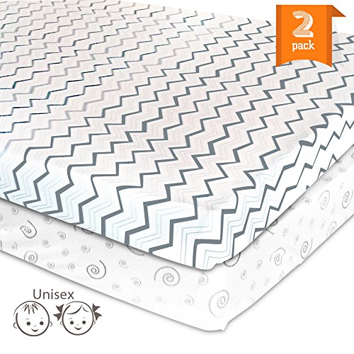 Pack N Play Playard Sheet Set - 2 Pack Jersey Cotton Fitted Sheets for Mini/Portable Crib Mattress by Mom's Besty™ - Unisex Gray Chevron (Pack N Play Travel compare prices)