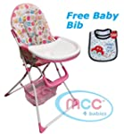 MCC Foldable Pink Baby High Chair fee...