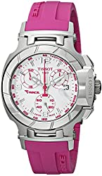 Tissot Women's T0482171701701 T-Race White Dial Pink Silicone Strap Watch