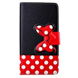 Fashion Girls Cute Cartoon Design Black Red Bow Bowknot Polka Dot Wallet Flip Case Folio PU Leather Stand Cover with Card Slots for Samsung Galaxy Grand Prime G530H + Free Lovely Gift