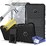 ITALKonline Motorola Moto E (2nd Gen) Moto E2 (2015) Black Black Tough Hard Shock Proof Rugged Heavy Duty Case Cover with Viewing Stand and Tempered Glass Protective LCD Screen Protector with MicroFibre Polishing Cleaning Cloth and Application Card