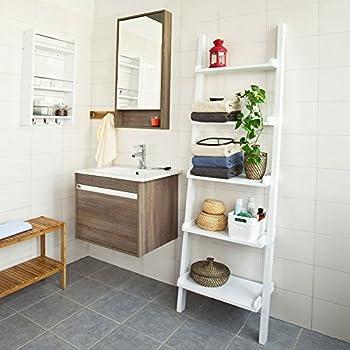 SoBuy Modern ladder bookcase made of wood, book shelf,stand shelf, wall shelf,corner bookshelf (FRG17-W)