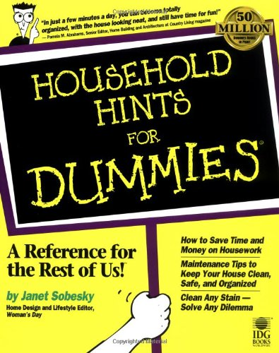 Household Hints For Dummies? [Sobesky, Janet] (Tapa Blanda)