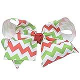 Reflectionz Girls Green Red White Chevron Grosgrain Hair Bow Clippie