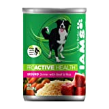 IAMS Dog Food proactive Healthy Ground,Dinner Beef & Rice,13.2-Ounce Cans (Pack of 12)