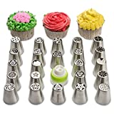 Russian Piping Tips Set - 23 Piece Cake Decorating Supplies Kit - Icing Nozzles, Pastry Bags & Coupler Set - 304 Stainless Steel Quality
