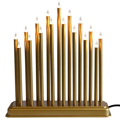 Weihnachtliche Kerzenbrücke 17 Lampen, Gold - Lichterbogen Schwibbogen Lichterdekoration