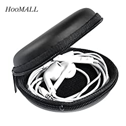 1PC PU leather Zipper Protective Headphone case Pouch Earphone Storage bag Soft Headset Earbuds box Usb cable organizer(Colour: (Black)