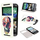 TUTUWEN View Window Painting Art Flowers Ghost Style Design PU Leather Flip Stand Case Cover for HTC One M8 HTC One M8 CDMA