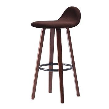BZEI-Chair Retro Silla de bar de hierro Sillón de taburete de bar, Brown Sólido de madera maciza Taburete alto de restaurante Asiento de comedor creativo de comedor, cojín desmontable (tamaño: W33 * D33 * H82cm) ( Color : Marr&
