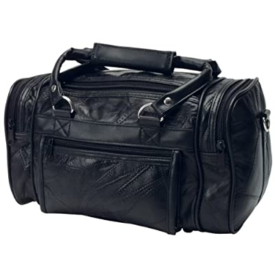 RoadPro PLB-003 Black 12-Inch Patchwork 'Leather-Like' Shave Kit Bag