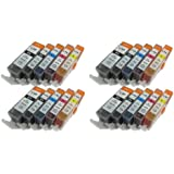 20 Pack New Compatible Canon PGI-220(4 Pack),CLI-221K(4 Pack),CLI-221C(4 Pack),CLI-221M(4 Pack),CLI-221Y(4 Pack) Inkjet Cartridge