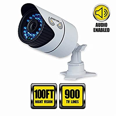 Night Owl Security Hi-Resolution 900 TVL Security Camera, Audio Enabled with 100-Feet of Night Vision