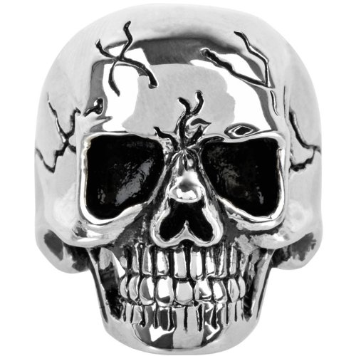 Size 10 - Inox Jewelry 316L Stainless Steel Black Cracked Skull Ring