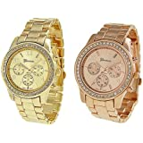 2 PACK Geneva Rose Gold and Gold Plated Classic Round CZ Ladies Boyfriend Watch