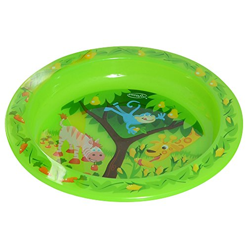 Evenflo Feeding Zoo Friends Toddler Plate, Green/Pink - 1